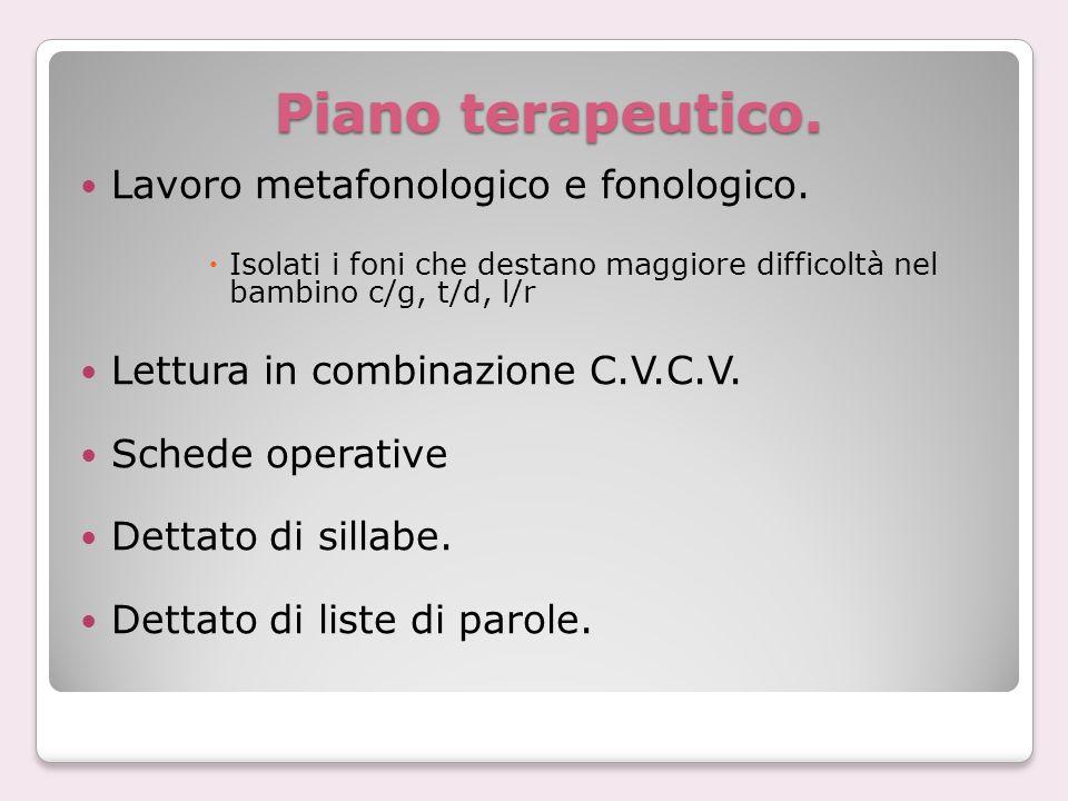 Piano terapeutico. Lavoro metafonologico e fonologico.