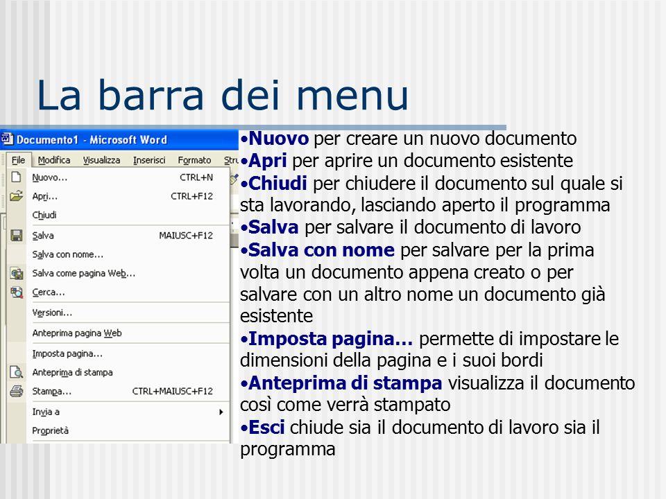 La Barra del titolo riporta il titolo del documento e il nome del programma.