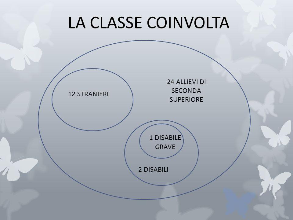 LA CLASSE COINVOLTA 24 ALLIEVI DI SECONDA SUPERIORE 12 STRANIERI 2 DISABILI 1 DISABILE GRAVE