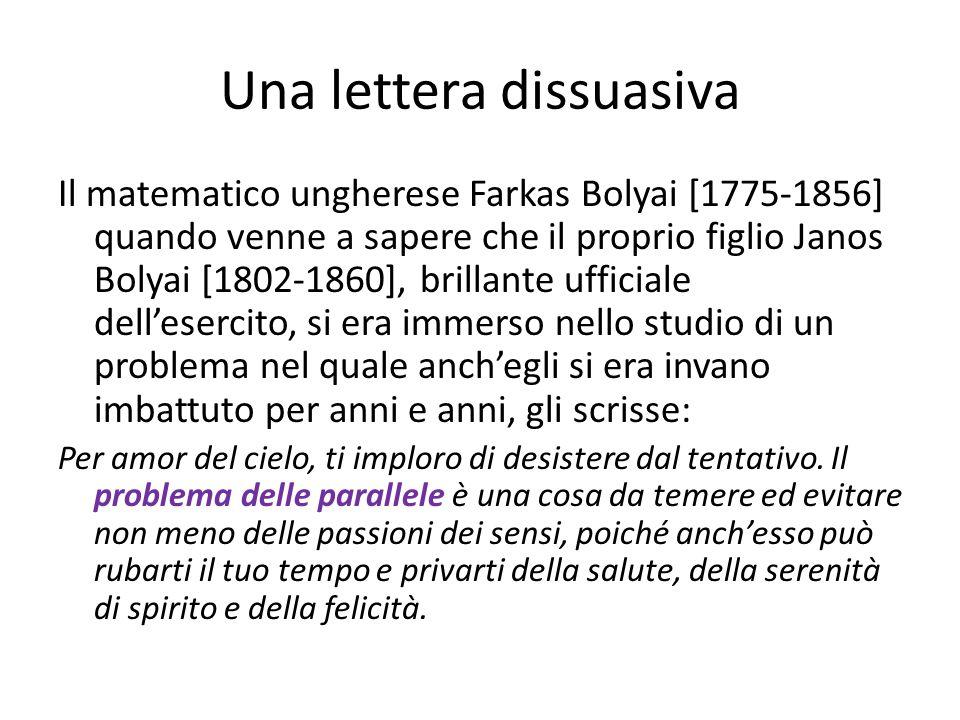 Una lettera dissuasiva Il matematico ungherese Farkas Bolyai [1775-1856] quando venne a sapere che il proprio figlio Janos Bolyai [1802-1860], brillante ufficiale dell'esercito, si era immerso nello studio di un problema nel quale anch'egli si era invano imbattuto per anni e anni, gli scrisse: Per amor del cielo, ti imploro di desistere dal tentativo.