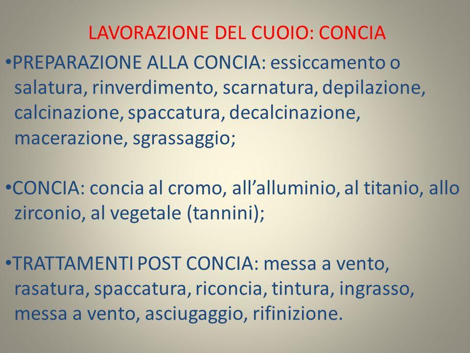 LAVORAZIONE DEL CUOIO: CONCIA PREPARAZIONE ALLA CONCIA: essiccamento o salatura, rinverdimento, scarnatura, depilazione, calcinazione, spaccatura, decalcinazione, macerazione, sgrassaggio; CONCIA: concia al cromo, all'alluminio, al titanio, allo zirconio, al vegetale (tannini); TRATTAMENTI POST CONCIA: messa a vento, rasatura, spaccatura, riconcia, tintura, ingrasso, messa a vento, asciugaggio, rifinizione.