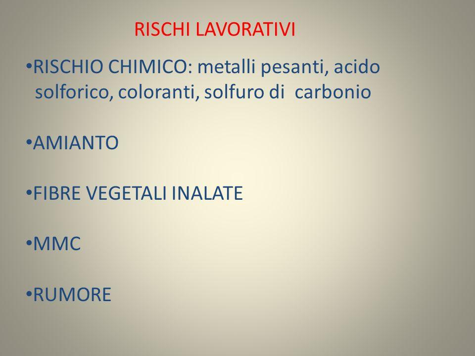 RISCHI LAVORATIVI RISCHIO CHIMICO: metalli pesanti, acido solforico, coloranti, solfuro di carbonio AMIANTO FIBRE VEGETALI INALATE MMC RUMORE
