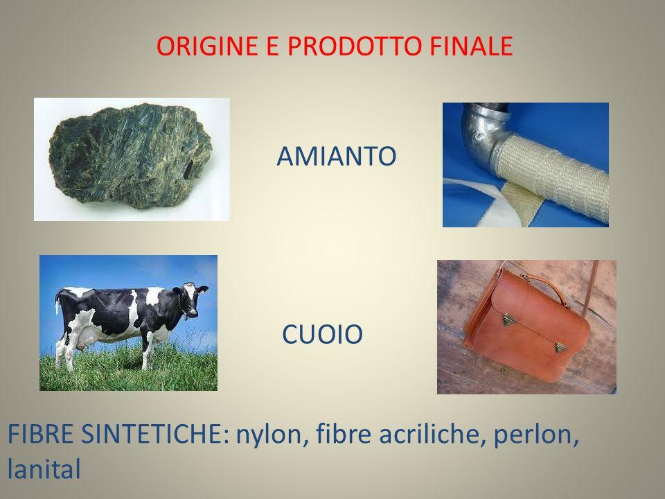 ORIGINE E PRODOTTO FINALE AMIANTO FIBRE SINTETICHE: nylon, fibre acriliche, perlon, lanital CUOIO