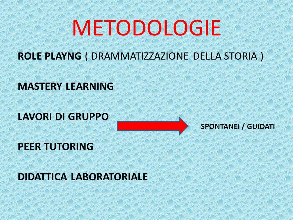 METODOLOGIE ROLE PLAYNG ( DRAMMATIZZAZIONE DELLA STORIA ) MASTERY LEARNING LAVORI DI GRUPPO PEER TUTORING DIDATTICA LABORATORIALE SPONTANEI / GUIDATI