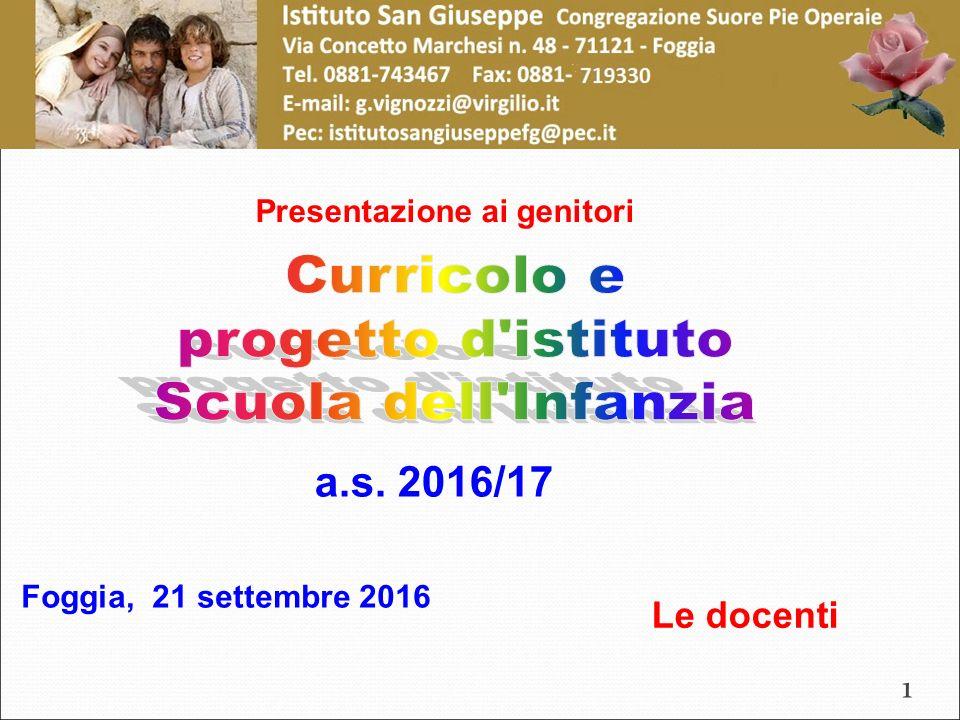 a.s. 2016/17 Presentazione ai genitori Foggia, 21 settembre 2016 Le docenti 1
