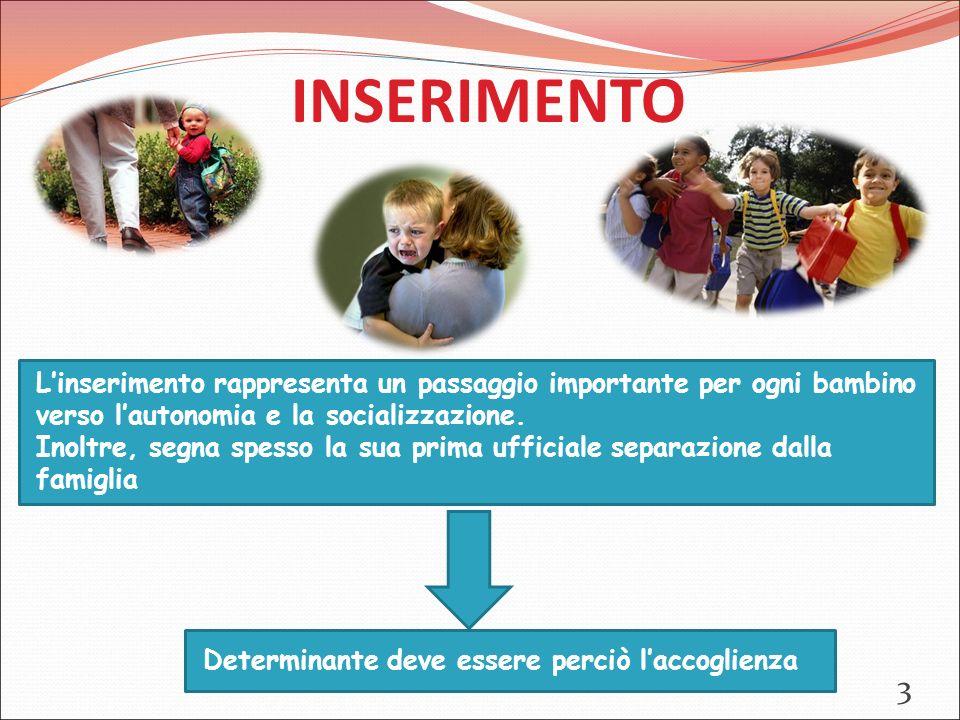 INSERIMENTO L'inserimento rappresenta un passaggio importante per ogni bambino verso l'autonomia e la socializzazione.