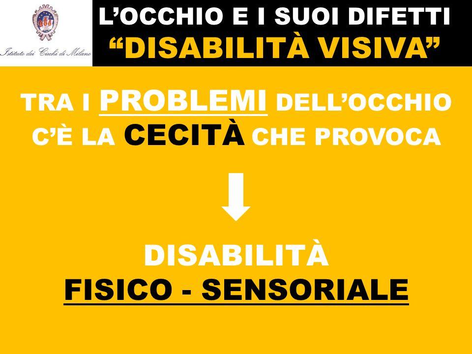 L'OCCHIO E I SUOI DIFETTI DISABILITÀ VISIVA TRA I PROBLEMI DELL'OCCHIO C'È LA CECITÀ CHE PROVOCA DISABILITÀ FISICO - SENSORIALE