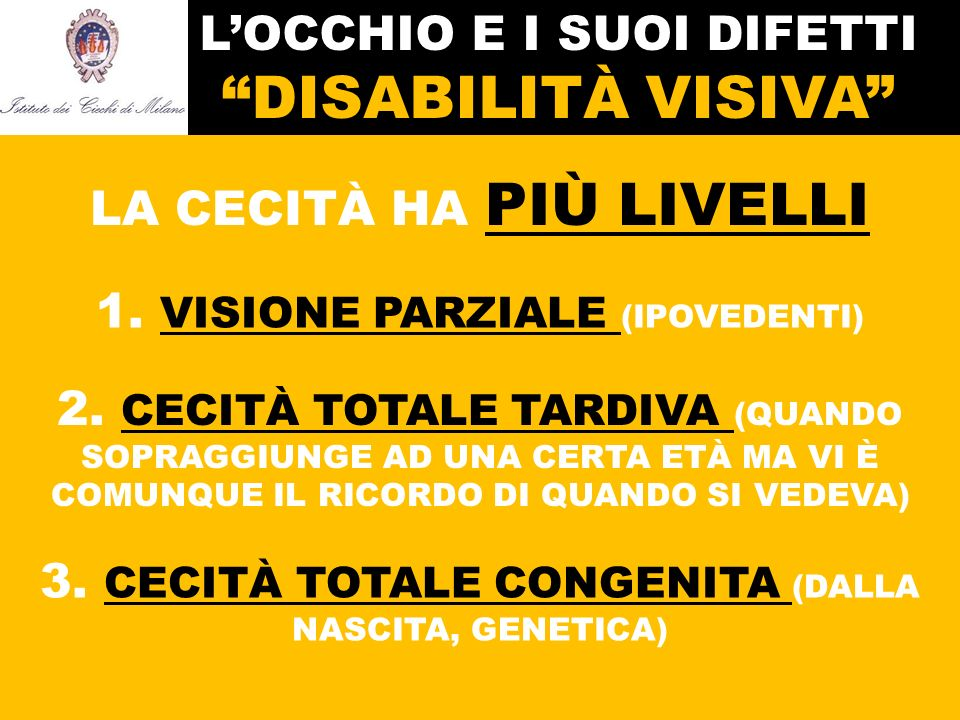 L'OCCHIO E I SUOI DIFETTI DISABILITÀ VISIVA LA CECITÀ HA PIÙ LIVELLI 1.