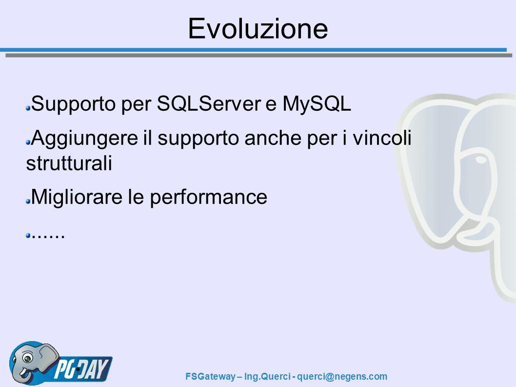 Evoluzione Supporto per SQLServer e MySQL Aggiungere il supporto anche per i vincoli strutturali Migliorare le performance......