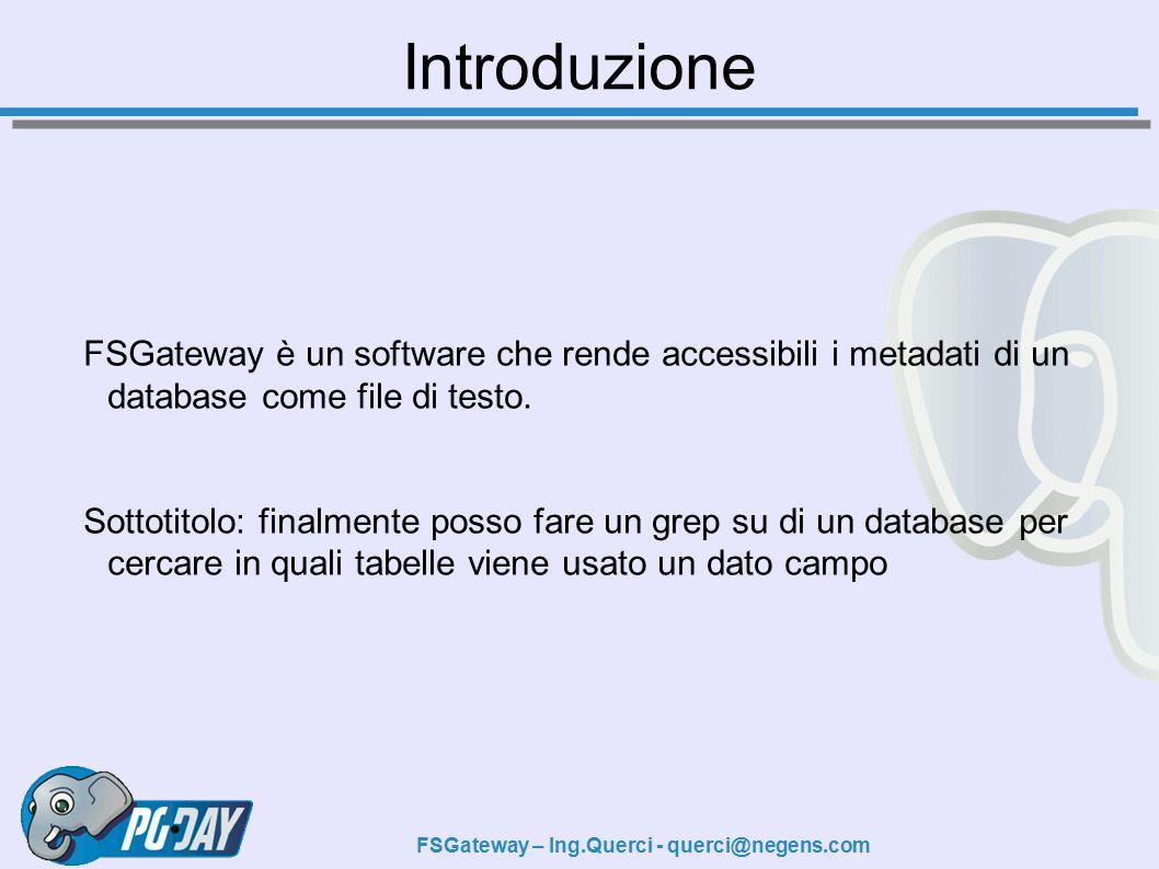 FSGateway – Ing.Querci - querci@negens.com FSGateway è un software che rende accessibili i metadati di un database come file di testo.