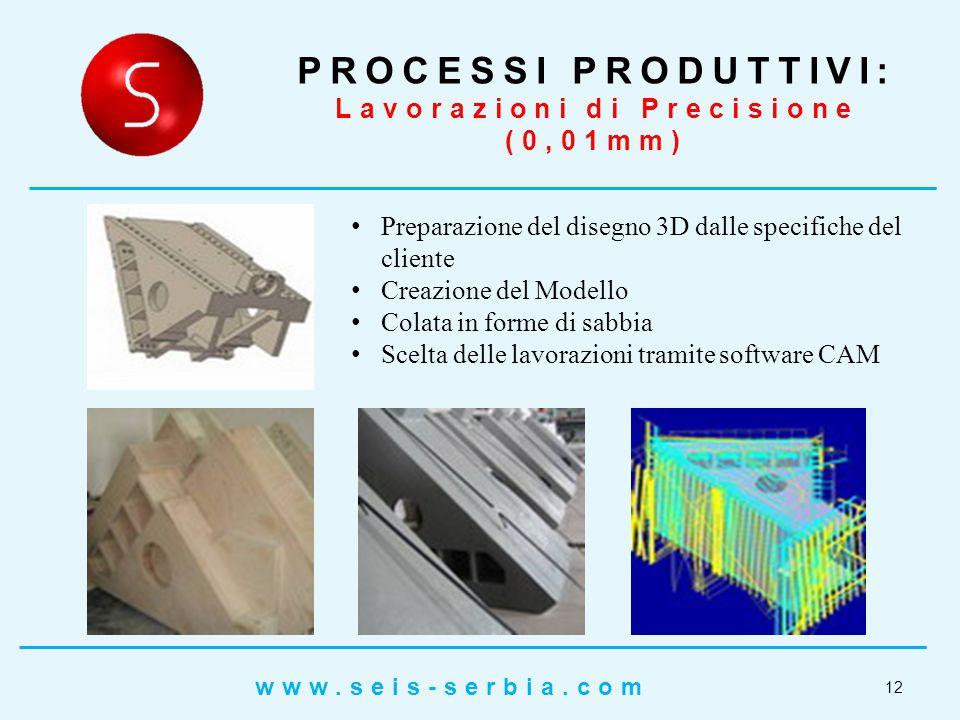 Preparazione del disegno 3D dalle specifiche del cliente Creazione del Modello Colata in forme di sabbia Scelta delle lavorazioni tramite software CAM PROCESSI PRODUTTIVI: Lavorazioni di Precisione (0,01mm) 12 www.seis-serbia.com