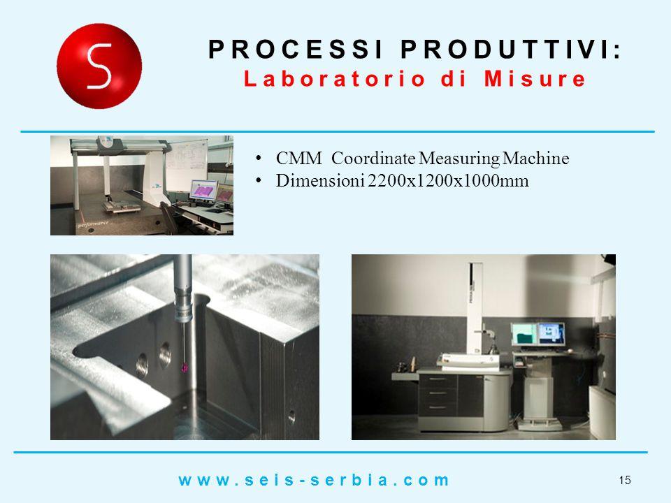 CMM Coordinate Measuring Machine Dimensioni 2200x1200x1000mm PROCESSI PRODUTTIVI: Laboratorio di Misure 15 www.seis-serbia.com