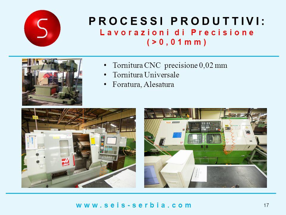 Tornitura CNC precisione 0,02 mm Tornitura Universale Foratura, Alesatura PROCESSI PRODUTTIVI: Lavorazioni di Precisione (>0,01mm) 17 www.seis-serbia.com
