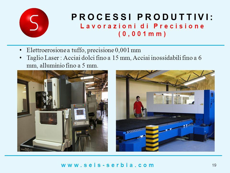 Elettroerosione a tuffo, precisione 0,001 mm Taglio Laser : Acciai dolci fino a 15 mm, Acciai inossidabili fino a 6 mm, alluminio fino a 5 mm.