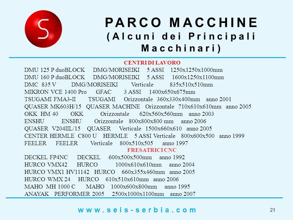 21 PARCO MACCHINE (Alcuni dei Principali Macchinari) CENTRI DI LAVORO DMU 125 P duoBLOCK DMG/MORISEIKI 5 ASSI 1250x1250x1000mm DMU 160 P duoBLOCK DMG/MORISEIKI 5 ASSI 1600x1250x1100mm DMC 835 V DMG/MORISEIKI Verticale 835x510x510mm MIKRON VCE 1400 Pro GFAC 3 ASSI 1400x650x675mm TSUGAMI FMA3-II TSUGAMI Orizzontale 360x330x400mm anno 2001 QUASER MK603H/15 QUASER MACHINE Orizzontale 710x610x610mm anno 2005 OKK HM 40 OKK Orizzontale 620x560x560mm anno 2003 ENSHU ENSHU Orizzontale 800x800x800 mm anno 2006 QUASER V204IIL/15 QUASER Verticale 1500x660x610 anno 2005 CENTER HERMLE C800 U HERMLE 5 ASSI Verticale 800x600x500 anno 1999 FEELER FEELER Verticale 800x510x505 anno 1997 FRESATRICI CNC DECKEL FP4NC DECKEL 600x500x500mm anno 1992 HURCO VMX42 HURCO 1000x610x610mm anno 2004 HURCO VMX1 HV11142 HURCO 660x355x460mm anno 2005 HURCO WMX 24 HURCO 610x510x610mm anno 2006 MAHO MH 1000 C MAHO 1000x600x800mm anno 1995 ANAYAK PERFORMER 2005 2500x1000x1100mm anno 2007 www.seis-serbia.com