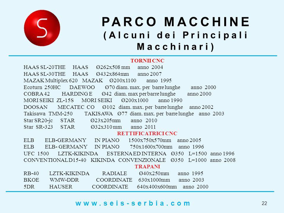 22 PARCO MACCHINE (Alcuni dei Principali Macchinari) TORNII CNC HAAS SL-20THE HAAS Ø262x508 mm anno 2004 HAAS SL-30THE HAAS Ø432x864mm anno 2007 MAZAK Multiplex 620 MAZAK Ø200x1100 anno 1995 Ecoturn 250HC DAEWOO Ø70 diam.