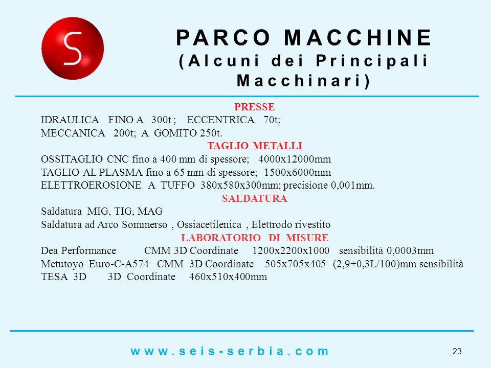 23 PARCO MACCHINE (Alcuni dei Principali Macchinari) PRESSE IDRAULICA FINO A 300t ; ECCENTRICA 70t; MECCANICA 200t; A GOMITO 250t.
