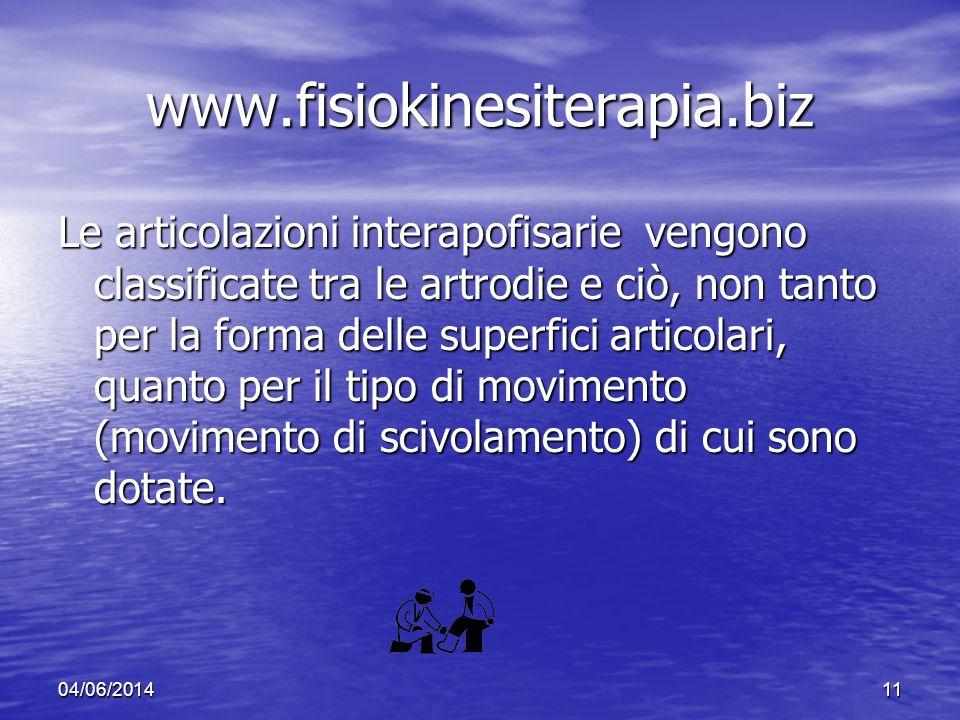 04/06/201411 www.fisiokinesiterapia.biz Le articolazioni interapofisarie vengono classificate tra le artrodie e ciò, non tanto per la forma delle supe