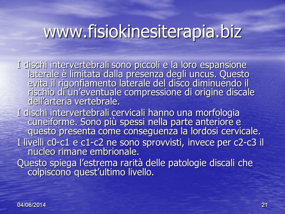 04/06/201421 www.fisiokinesiterapia.biz I dischi intervertebrali sono piccoli e la loro espansione laterale è limitata dalla presenza degli uncus. Que