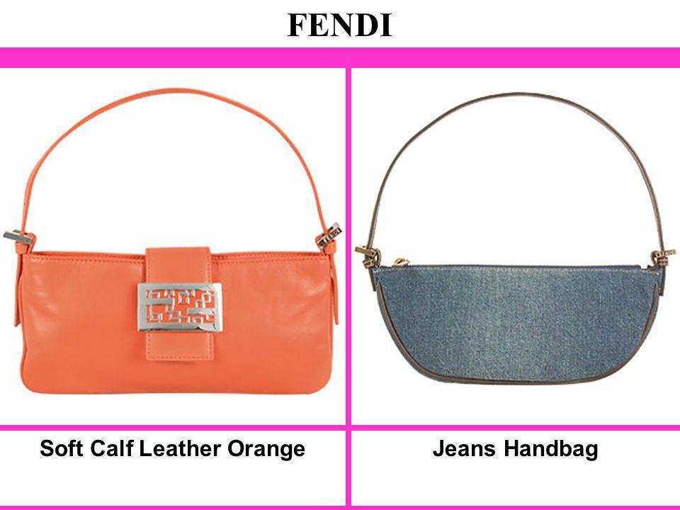 Soft Calf Leather Orange FENDI Jeans Handbag