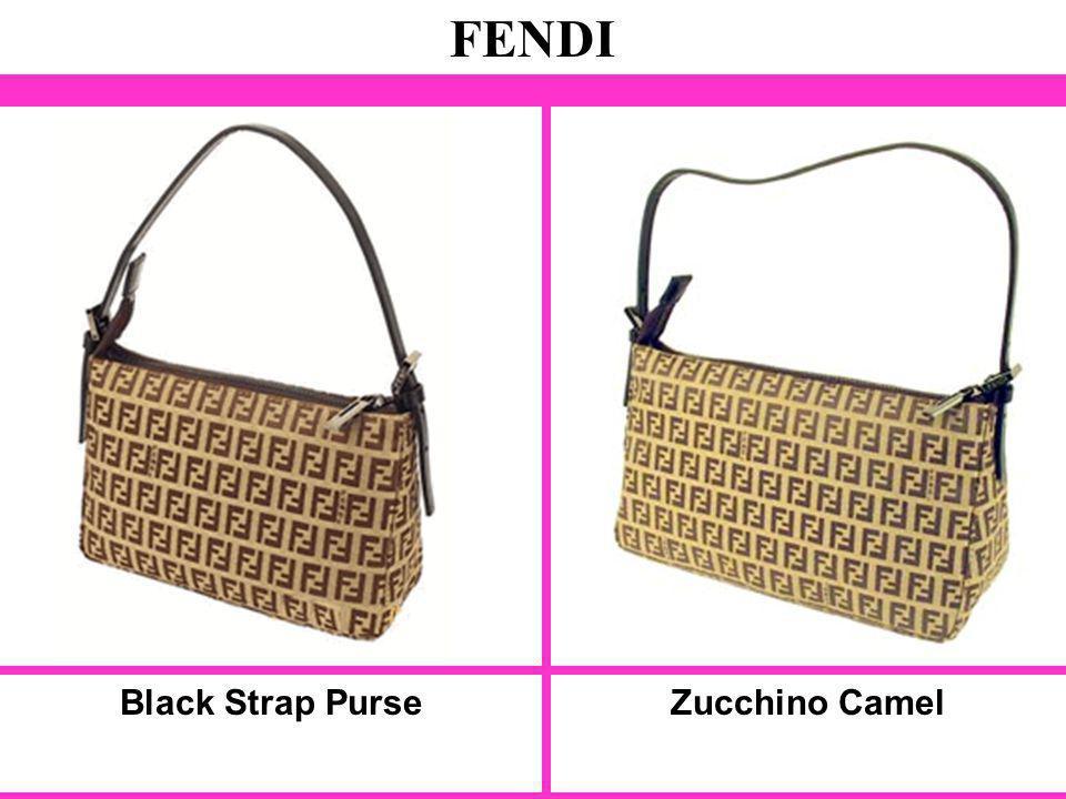 Black Strap Purse FENDI Zucchino Camel