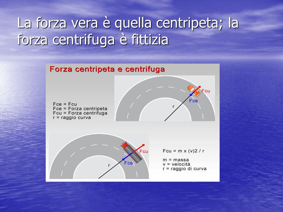 La forza vera è quella centripeta; la forza centrifuga è fittizia