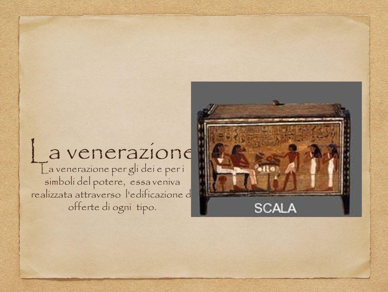 La venerazione La venerazione per gli dei e per i simboli del potere, essa veniva realizzata attraverso l'edificazione di offerte di ogni tipo.