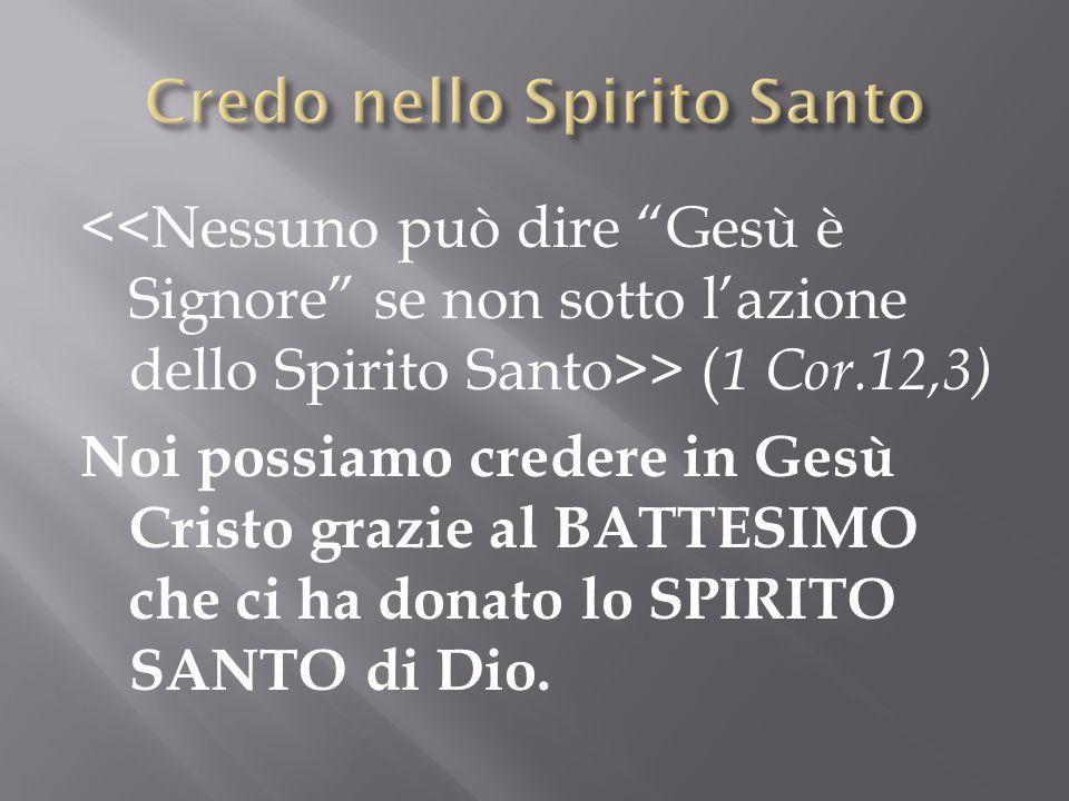 > ( 1 Cor.12,3) Noi possiamo credere in Gesù Cristo grazie al BATTESIMO che ci ha donato lo SPIRITO SANTO di Dio.