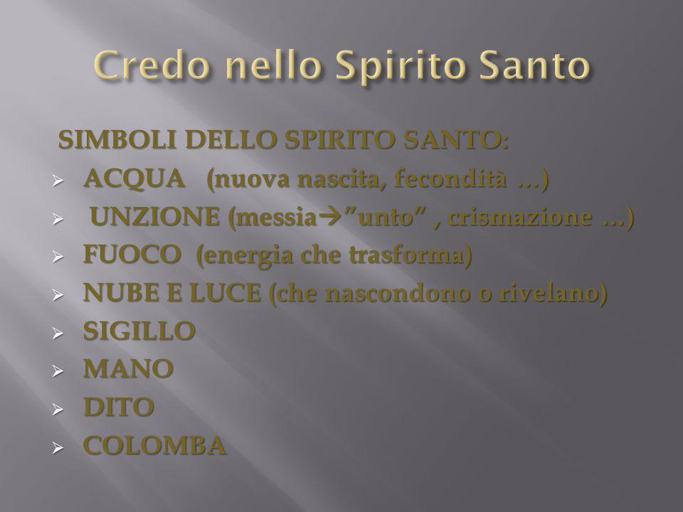 """SIMBOLI DELLO SPIRITO SANTO: SIMBOLI DELLO SPIRITO SANTO:  ACQUA (nuova nascita, fecondità …)  UNZIONE (messia  """"unto"""", crismazione …)  FUOCO (ene"""