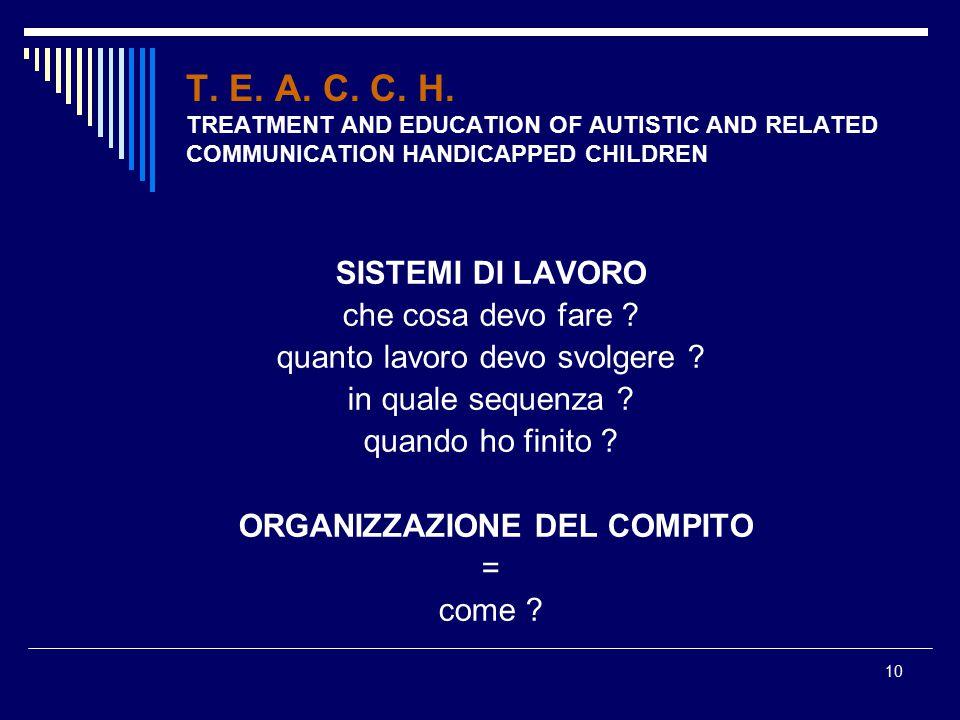 10 T. E. A. C. C. H. TREATMENT AND EDUCATION OF AUTISTIC AND RELATED COMMUNICATION HANDICAPPED CHILDREN SISTEMI DI LAVORO che cosa devo fare ? quanto