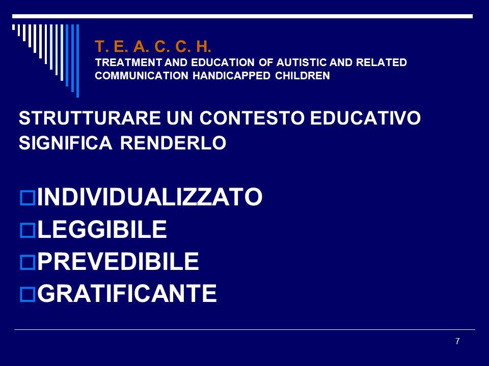 7 T. E. A. C. C. H. TREATMENT AND EDUCATION OF AUTISTIC AND RELATED COMMUNICATION HANDICAPPED CHILDREN STRUTTURARE UN CONTESTO EDUCATIVO SIGNIFICA REN