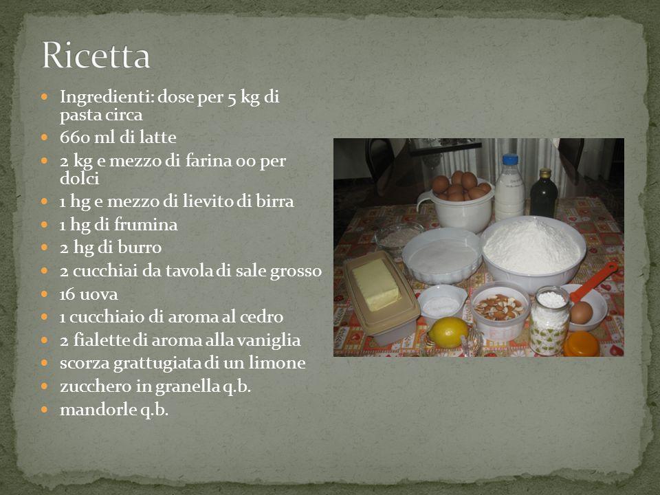 Ingredienti: dose per 5 kg di pasta circa 660 ml di latte 2 kg e mezzo di farina 00 per dolci 1 hg e mezzo di lievito di birra 1 hg di frumina 2 hg di burro 2 cucchiai da tavola di sale grosso 16 uova 1 cucchiaio di aroma al cedro 2 fialette di aroma alla vaniglia scorza grattugiata di un limone zucchero in granella q.b.
