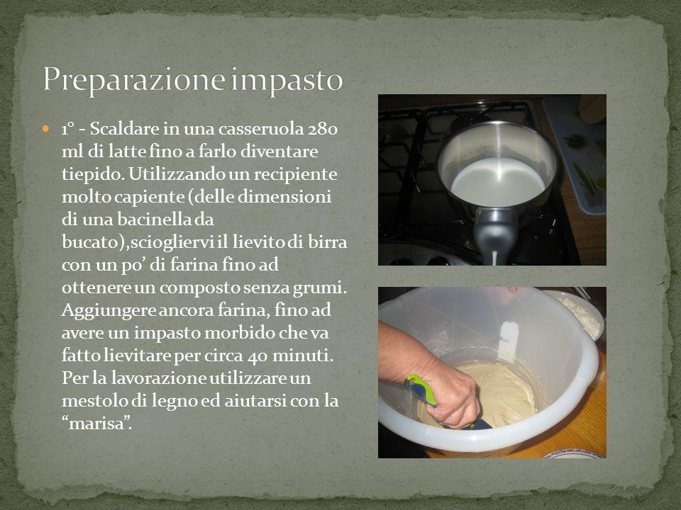 1° - Scaldare in una casseruola 280 ml di latte fino a farlo diventare tiepido.