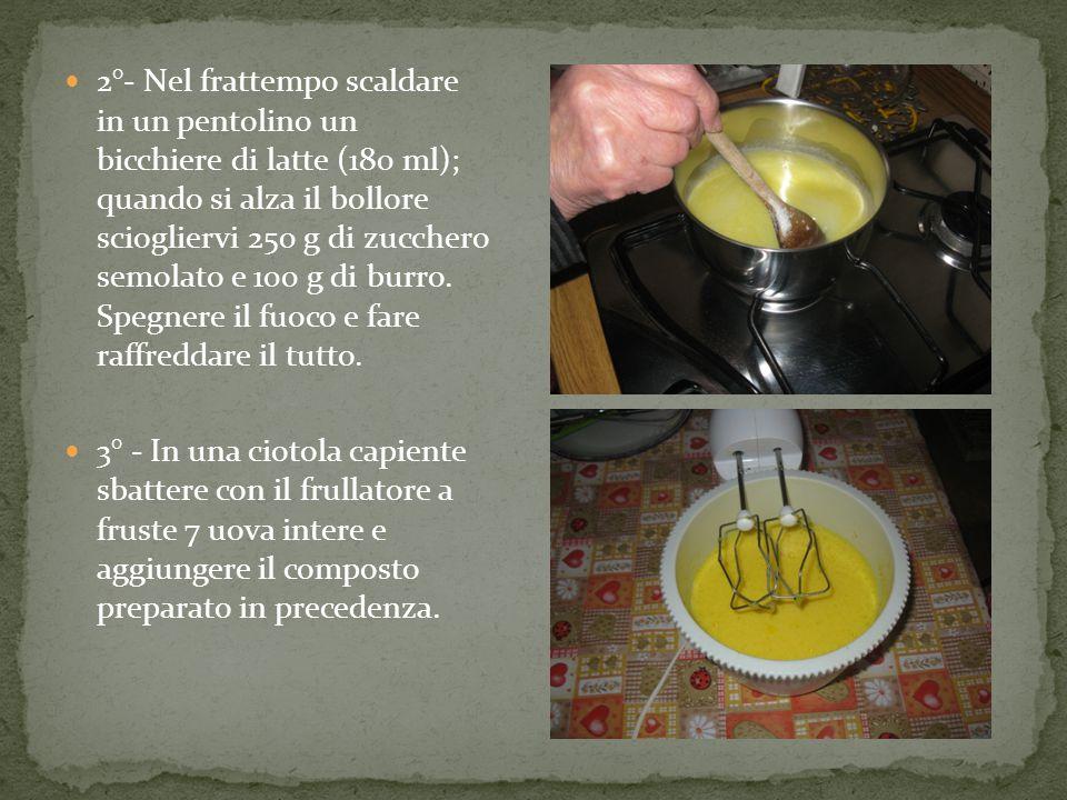2°- Nel frattempo scaldare in un pentolino un bicchiere di latte (180 ml); quando si alza il bollore sciogliervi 250 g di zucchero semolato e 100 g di burro.