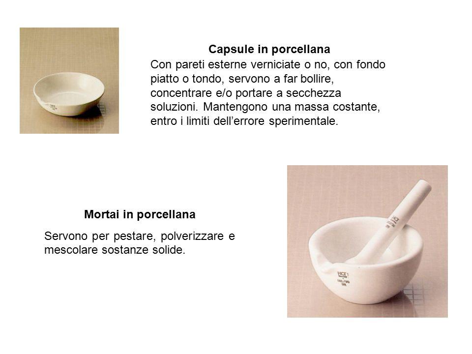 Capsule in porcellana Con pareti esterne verniciate o no, con fondo piatto o tondo, servono a far bollire, concentrare e/o portare a secchezza soluzioni.