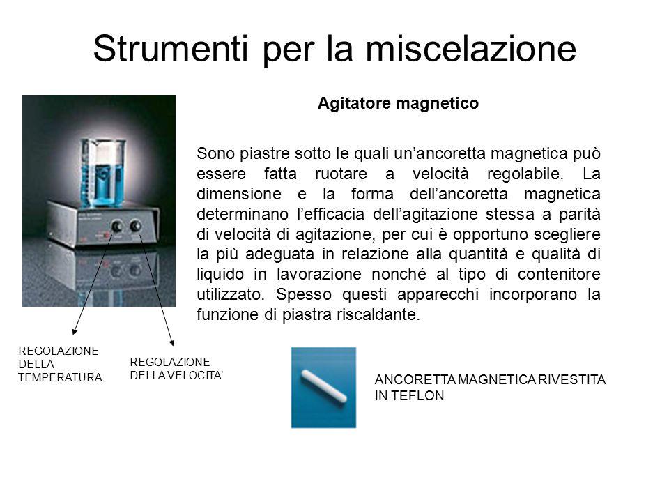 Strumenti per la miscelazione Agitatore magnetico Sono piastre sotto le quali un'ancoretta magnetica può essere fatta ruotare a velocità regolabile.