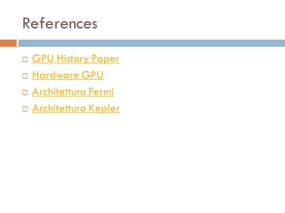References  GPU History Paper GPU History Paper  Hardware GPU Hardware GPU  Architettura Fermi Architettura Fermi  Architettura Kepler Architettura Kepler