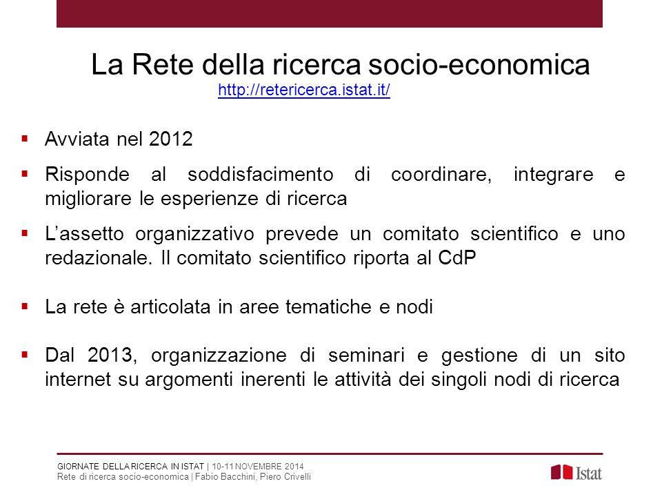 Rete di ricerca socio-economica | Fabio Bacchini, Piero Crivelli La Rete della ricerca socio-economica  Avviata nel 2012  Risponde al soddisfaciment
