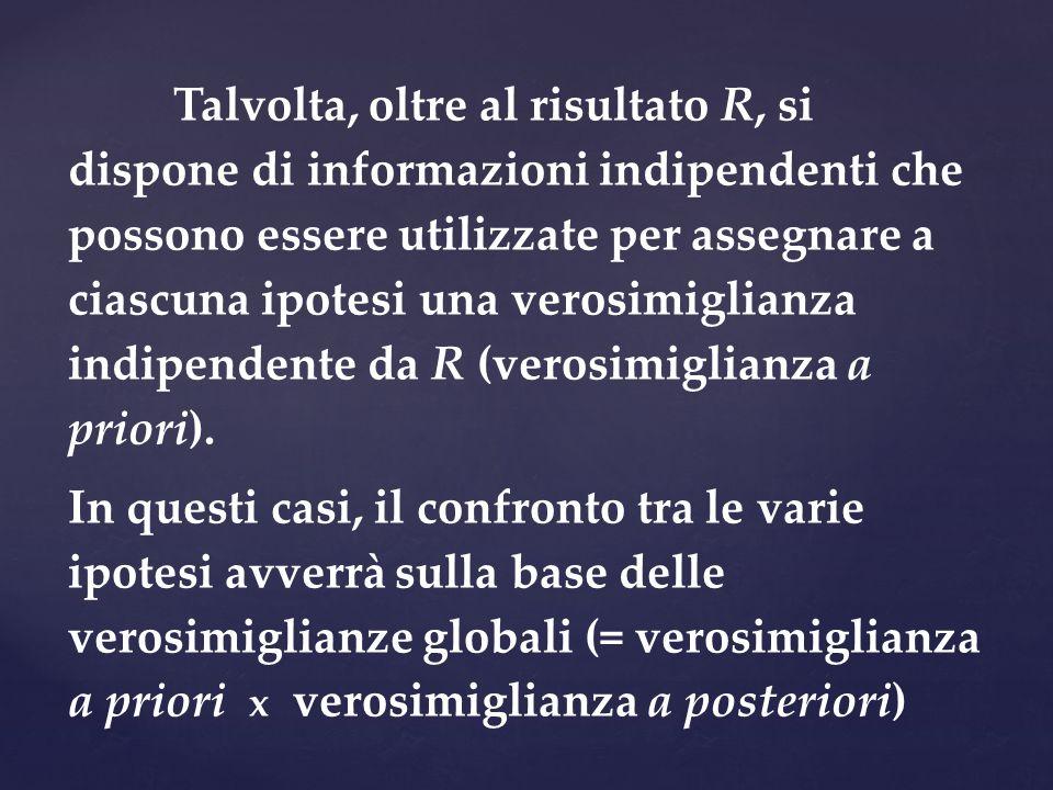 Talvolta, oltre al risultato R, si dispone di informazioni indipendenti che possono essere utilizzate per assegnare a ciascuna ipotesi una verosimigli