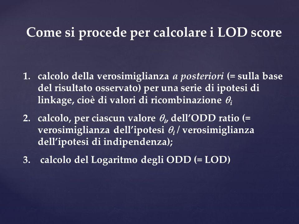 Come si procede per calcolare i LOD score 1.calcolo della verosimiglianza a posteriori (= sulla base del risultato osservato) per una serie di ipotesi