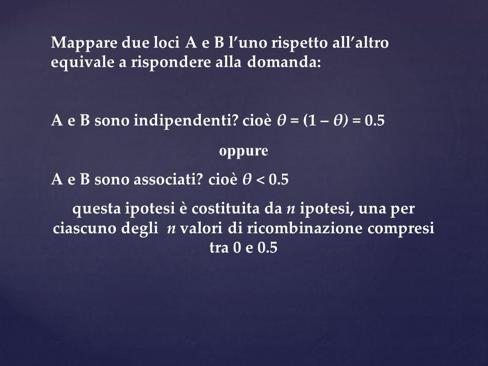 Mappare due loci A e B l'uno rispetto all'altro equivale a rispondere alla domanda: A e B sono indipendenti? cioè θ = (1 – θ) = 0.5 oppure A e B sono