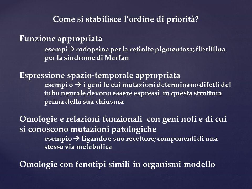 Come si stabilisce l'ordine di priorità? Funzione appropriata esempi  rodopsina per la retinite pigmentosa; fibrillina per la sindrome di Marfan Espr