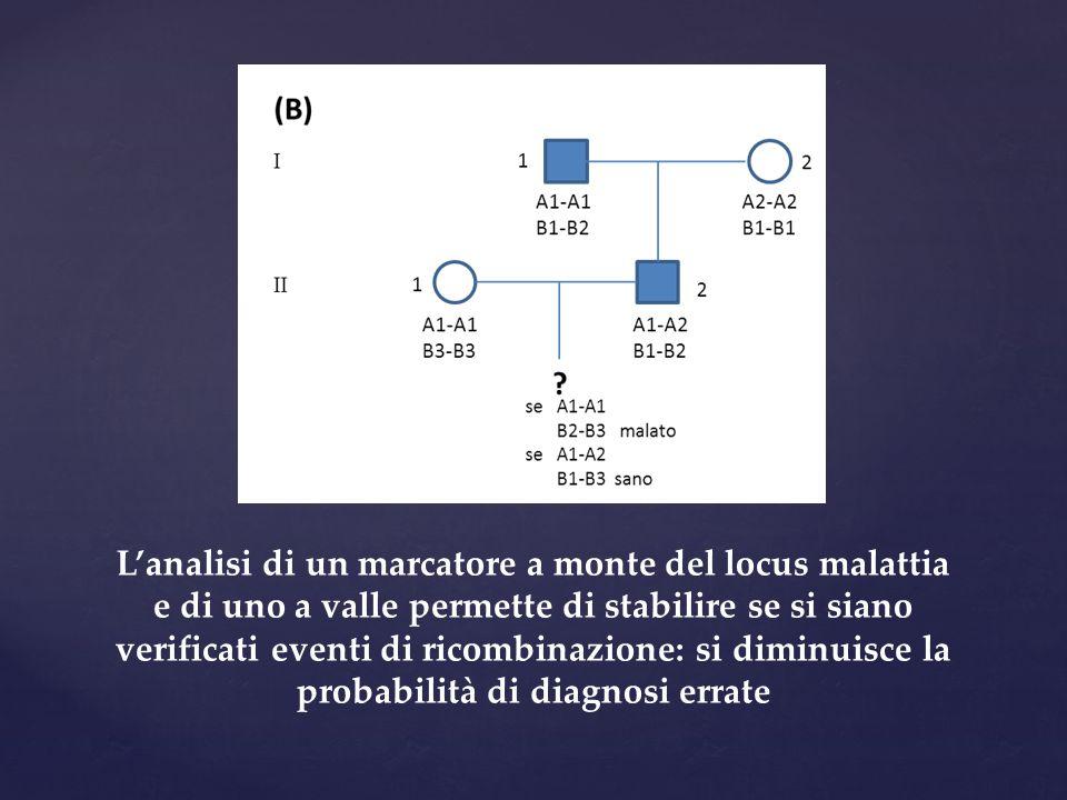 L'analisi di un marcatore a monte del locus malattia e di uno a valle permette di stabilire se si siano verificati eventi di ricombinazione: si diminu