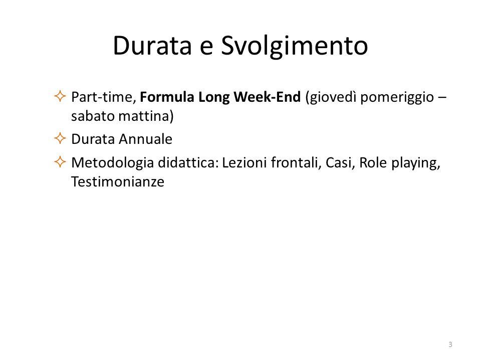 Durata e Svolgimento  Part-time, Formula Long Week-End (giovedì pomeriggio – sabato mattina)  Durata Annuale  Metodologia didattica: Lezioni fronta