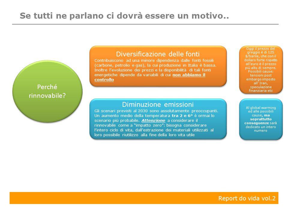 Report do vida vol.2 Se tutti ne parlano ci dovrà essere un motivo.. Diversificazione delle fonti Contribuiscono ad una minore dipendenza dalle fonti