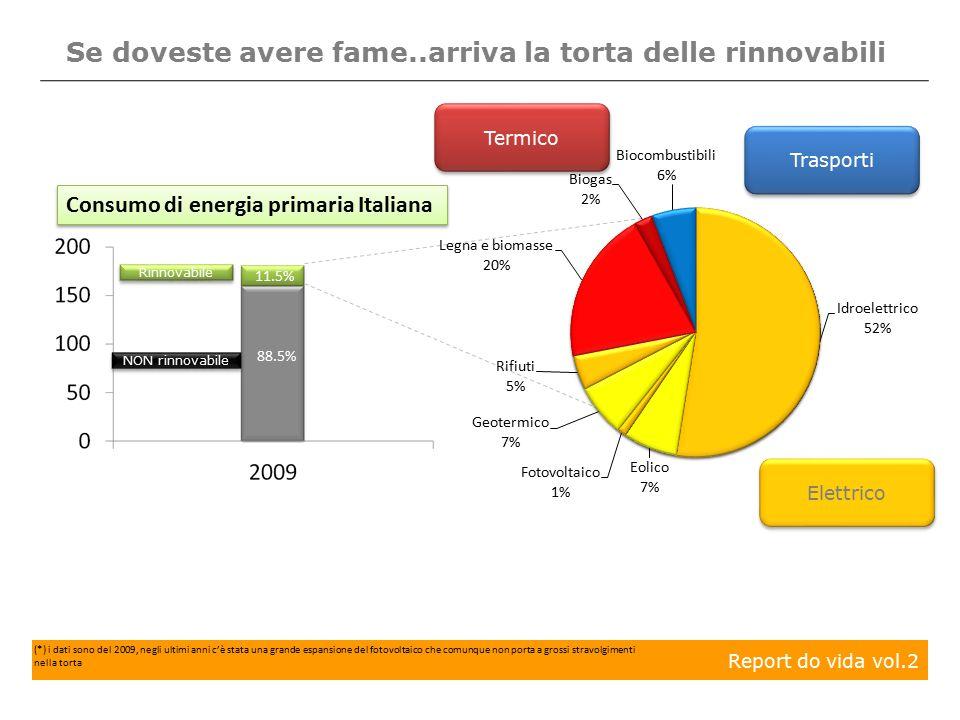 11.5% Se doveste avere fame..arriva la torta delle rinnovabili Rinnovabile NON rinnovabile 88.5% Report do vida vol.2 Consumo di energia primaria Italiana Elettrico Termico Trasporti (*) i dati sono del 2009, negli ultimi anni c'è stata una grande espansione del fotovoltaico che comunque non porta a grossi stravolgimenti nella torta