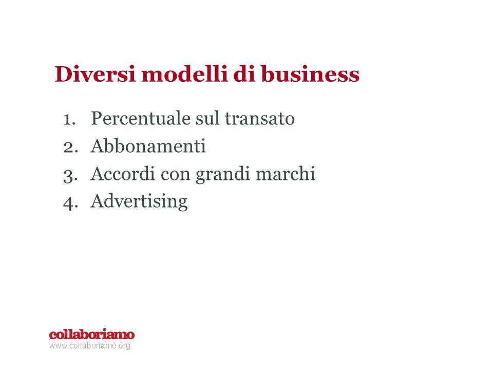 Diversi modelli di business 1.Percentuale sul transato 2.Abbonamenti 3.Accordi con grandi marchi 4.Advertising www.collaboriamo.org