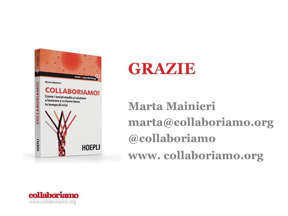 Marta Mainieri marta@collaboriamo.org @collaboriamo www. collaboriamo.org GRAZIE