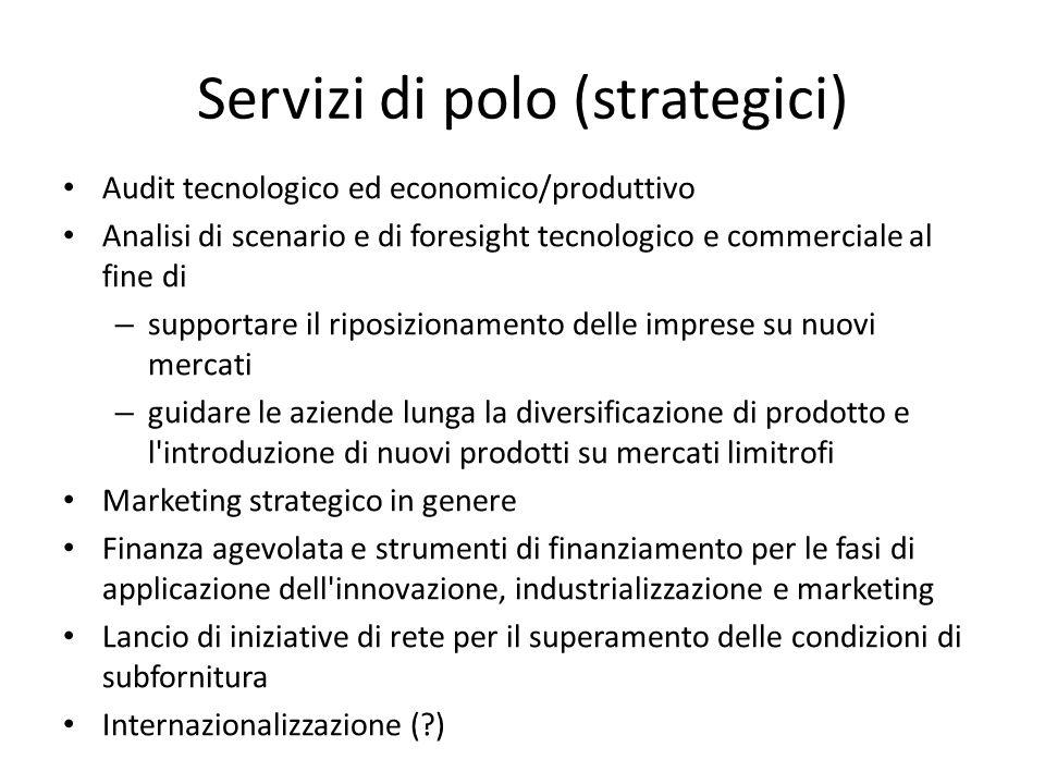 Servizi di polo (strategici) Audit tecnologico ed economico/produttivo Analisi di scenario e di foresight tecnologico e commerciale al fine di – suppo