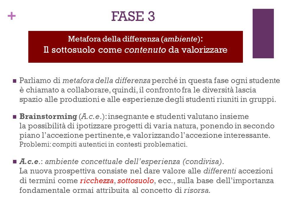 + FASE 3 Parliamo di metafora della differenza perché in questa fase ogni studente è chiamato a collaborare, quindi, il confronto fra le diversità las